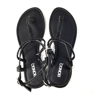 81634b74b117d BONGO Shoes - Bongo Black Rhinestone T-Strap Strappy Sandals 8
